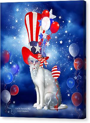 Fanciful Canvas Print - Cat In Patriotic Hat by Carol Cavalaris