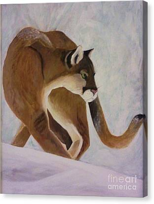 Cat In Snow Canvas Print by Christy Saunders Church