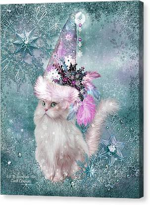 Cat In Snowflake Hat Canvas Print by Carol Cavalaris