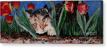 Cat In The Grass Canvas Print by Cathy Weaver