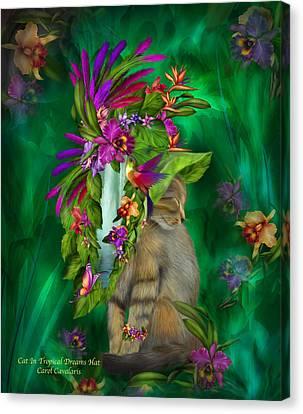 Cat In Tropical Dreams Hat Canvas Print by Carol Cavalaris