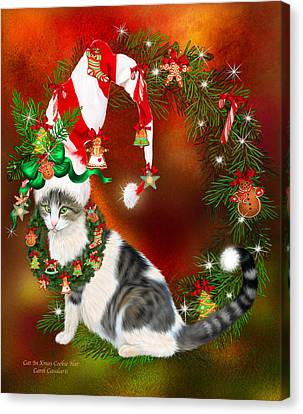 Fanciful Canvas Print - Cat In Xmas Cookie Hat by Carol Cavalaris