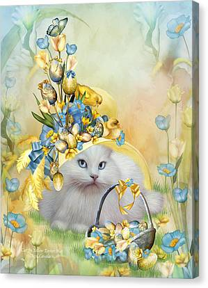 Cat In Yellow Easter Hat Canvas Print