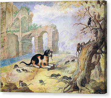 Cat Killing Mice In A Landscape Pen & Ink With Wash On Paper Canvas Print by Gottfried Mind or Mindt