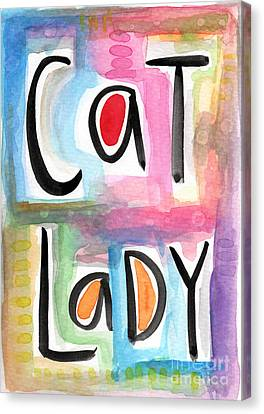 Cat Lady Canvas Print by Linda Woods