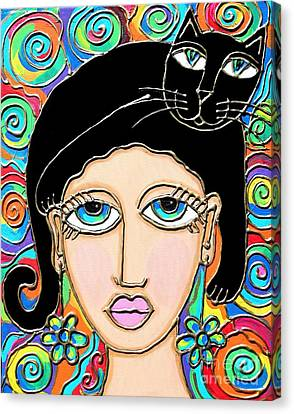 Cat Lady With Black Hair Canvas Print