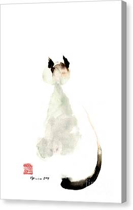 Cat Little Kittlen Syjamese White Cappuccino Black Grey Brown Meow Watercolor Painting Canvas Print