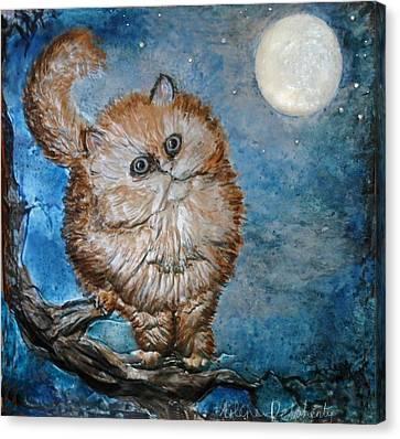 Cat Moon Crystal Night Canvas Print by Arlene Delahenty