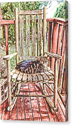 Rocking Chairs Canvas Print - Cat Nap Interrupted by Pamela Walton