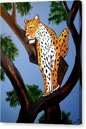 Cat On A Hot Wood Tree Canvas Print