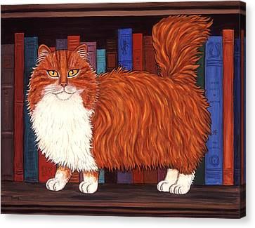 Cat Portrait Canvas Print - Cat On Book Shelf by Linda Mears