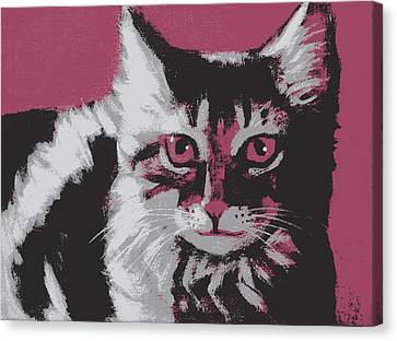 Red Cat Wine Canvas Print - Cat On Red by Kazumi Whitemoon