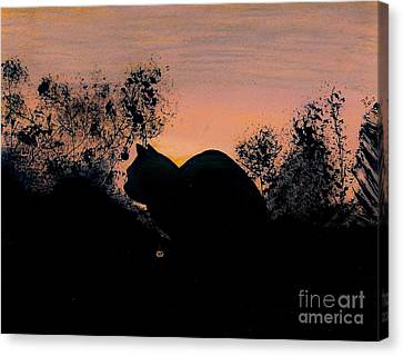 Canvas Print featuring the drawing Cat - Orange - Silhouette by D Hackett
