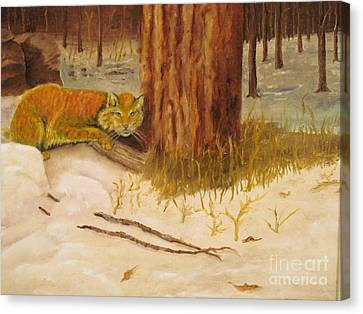 Cat Prey On Bird Oiginal Oil Painting Canvas Print by Anthony Morretta