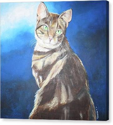 Canvas Print featuring the painting Cat Profile by Thomas J Herring