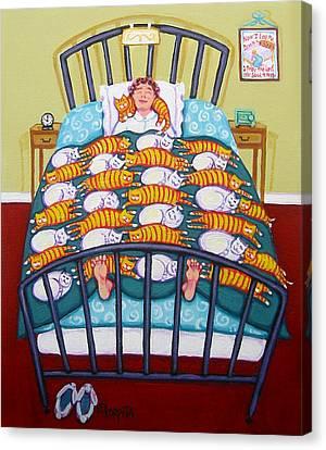 Cat Quilt Canvas Print by Rebecca Korpita