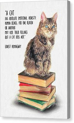 Cat Quote By Ernest Hemingway Canvas Print by Taylan Apukovska