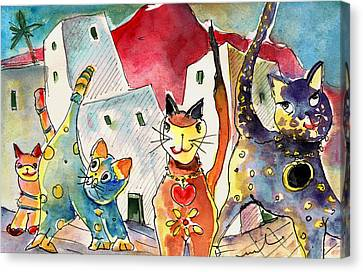 Cat Town In Lanzarote Canvas Print by Miki De Goodaboom