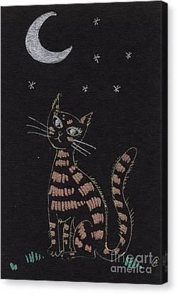 Cat Under The Moonlight Canvas Print by Angel  Tarantella