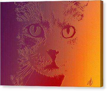 Cat With Intense Stare Abstract  Canvas Print by Denise Beverly