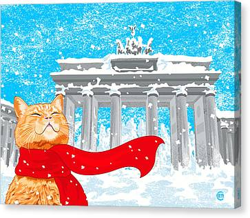Cat With Scarf Canvas Print by Carolina Matthes