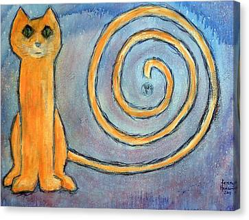 Canvas Print featuring the mixed media Cat World by Kenny Henson