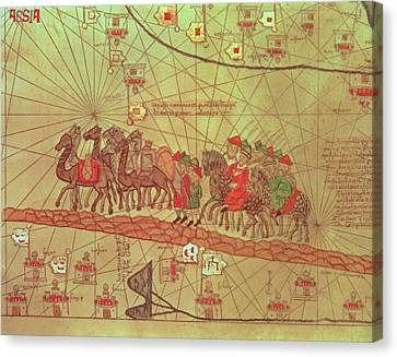 Camel Canvas Print - Catalan Atlas, Detail Showing The Family Of Marco Polo 1254-1324 Travelling By Camel Caravan, 1375 by Spanish School