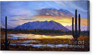 Canvas Print featuring the painting Catalina Sunrise by Judy Filarecki