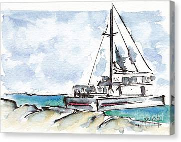 Catamaran On Fury Beach Canvas Print by Pat Katz