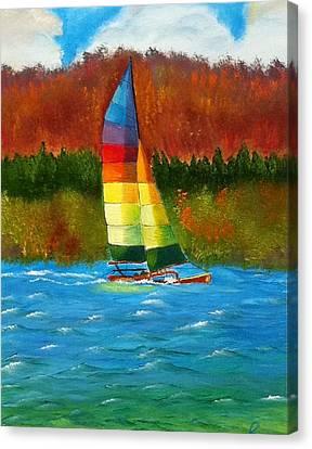 Catamaran Sailing Canvas Print by Rossana Kelton