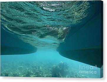 Catamaran's Hull Underwater Canvas Print by Sami Sarkis