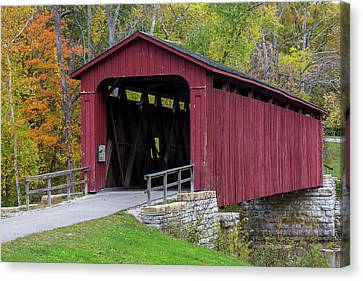 Cataract Covered Bridge Over Mill Creek Canvas Print by Chuck Haney