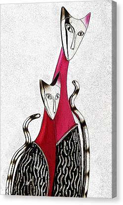 Canvas Print featuring the drawing Catcat by Selke Boris