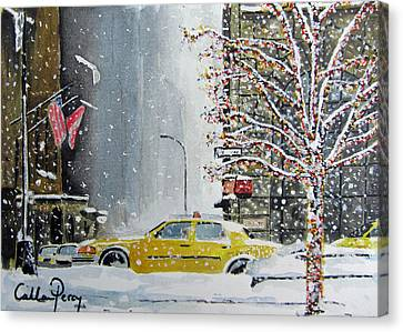 Catch A Snow Cab Canvas Print by Callan Percy