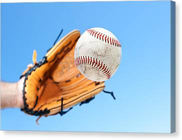 Catching A Baseball Canvas Print by Joe Belanger