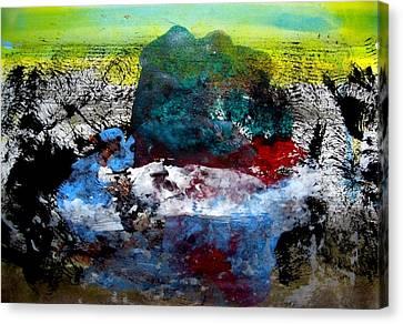 Catching A Carp Canvas Print by Aquira Kusume
