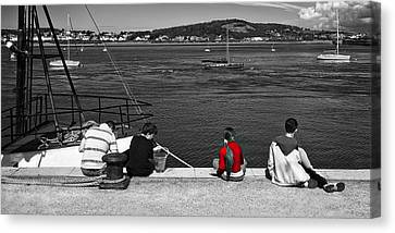 Catching Crabs In Red Canvas Print