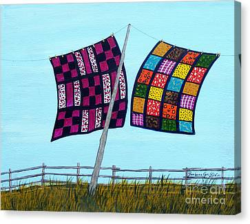 Homemade Quilts Canvas Print - Catching The Breeze by Barbara Griffin