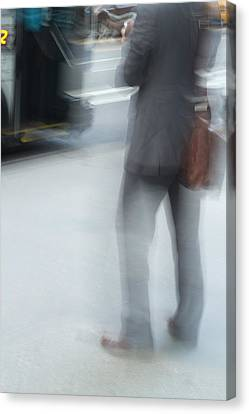 Catching The Bus Canvas Print by Karol Livote