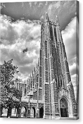 Cathedral At Duke Black And White Canvas Print by James  Bond