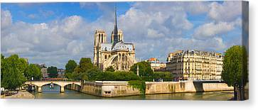 Cathedral At The Riverside, Notre Dame Canvas Print by Panoramic Images