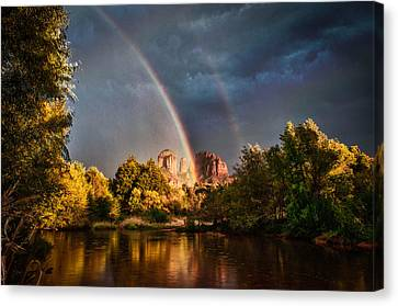Cathedral Crossing Double Rainbow Canvas Print by Linda Pulvermacher