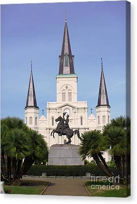 Canvas Print featuring the photograph Cathedral In Jackson Square by Alys Caviness-Gober