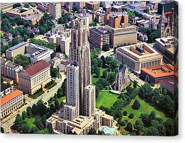 Cathedral Of Learning Aerial Canvas Print by Pittsburgh Aerials