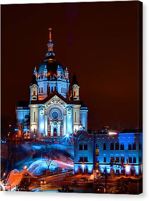Cathedral Of St Paul All Dressed Up For Red Bull Crashed Ice Canvas Print by Wayne Moran