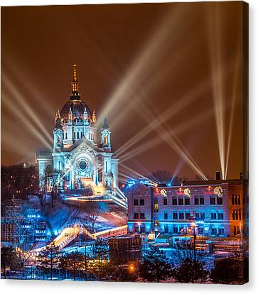 Cathedral Of St Paul Ready For Red Bull Crashed Ice Canvas Print
