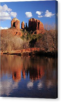 Cathedral Rock And Reflections At Sunset Canvas Print by Michel Hersen