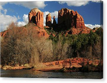 Cathedral Rock At Sunset, Red Rock Canvas Print by Michel Hersen