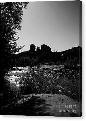 Cathedral Rock Bw Canvas Print