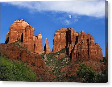 Cathedral Rock Moon Rise Color Canvas Print by Dave Dilli